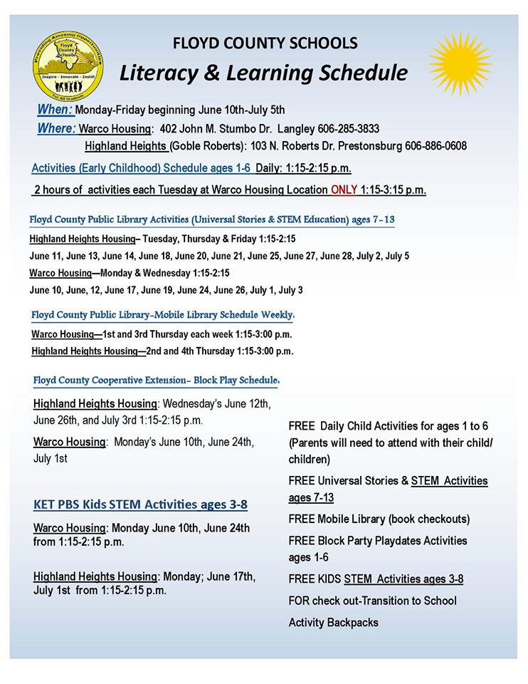 Floyd County Schools Summer 2019 Lunch, Literacy, and Learning